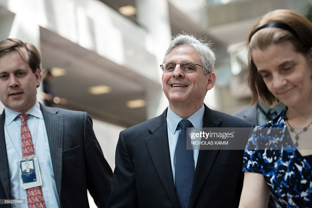 US Supreme Court nominee Merrick Garland arrives to meet Democratic Senator from California Barbara Boxer on Capitol Hill in Washington, DC, on May 25, 2016. / AFP / Nicholas Kamm