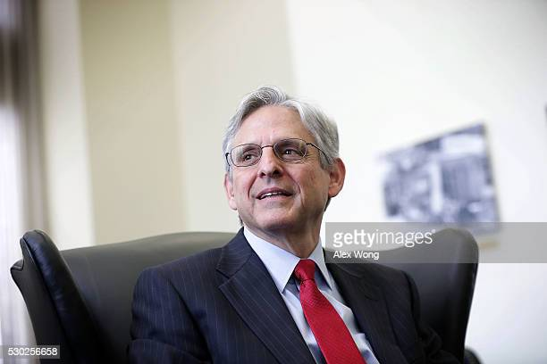 Supreme Court nominee Merrick Garland chief judge of the DC Circuit Court during a meeting with US Sen Brian Schatz May 10 2016 on Capitol Hill in...