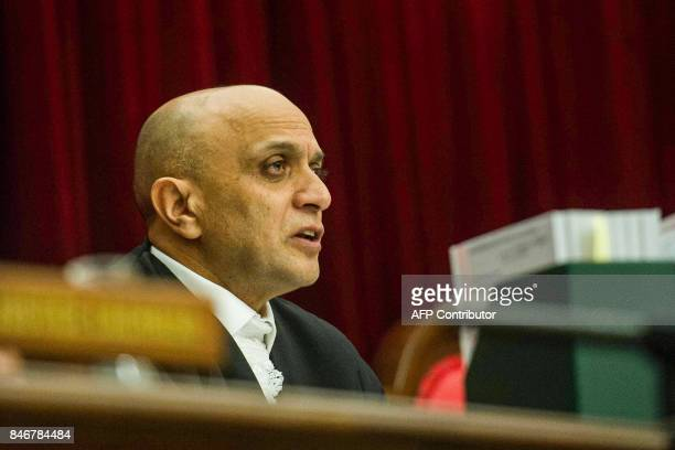 Supreme Court of Appeal's judge Mahomed Navsa attends the spy tape case at the Supreme Court of Appeal in Bloemfontein on September 14 2017 South...