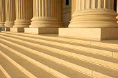 Steps and columns on the portico of the United States Supreme Court in Washington, DC, United States of America.
