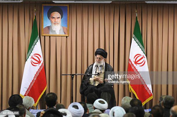 Supreme Leader of Iran Ayatollah Ali Khamenei gives a speech on the meeting in Tehran Iran on 8 July 2014