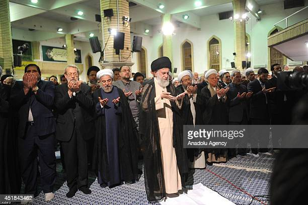 Supreme Leader of Iran Ayatollah Ali Khamenei Iran President Hassan Rouhani chairman of the Parliament of Iran Ali Larijani and Judiciary Chief Amoli...
