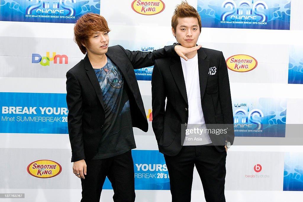 Supreme Team pose for photographs upon arrival during the 2010 Mnet 20's Choice at Sheraton Grande Walkerhill Hotel on August 26, 2010 in Seoul, South Korea.
