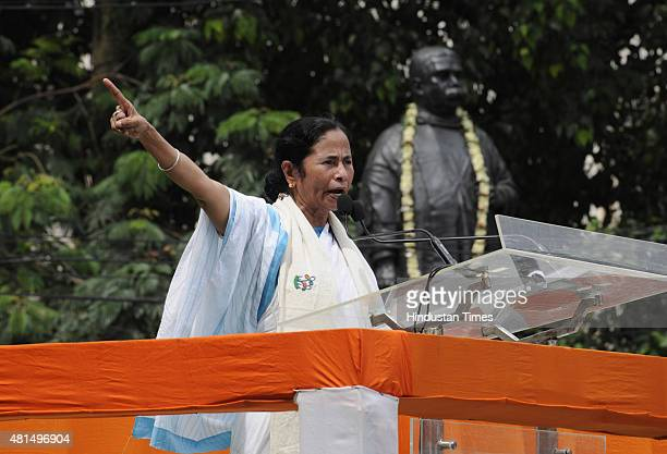 Supremo and West Bengal Chief Minister Mamata Banerjee addressing the Martyrs' Day rally at Esplanade on July 21 2015 in Kolkata India Martyrs' Day...