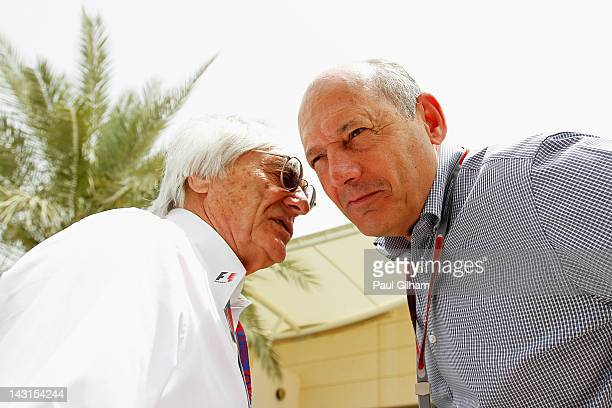 F1 supremo Bernie Ecclestone and Ron Dennis the McLaren Executive Chairman talk in the paddock during practice for the Bahrain Formula One Grand Prix...