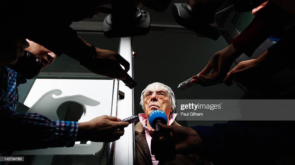F1 supremo <a gi-track='captionPersonalityLinkClicked' href=/galleries/search?phrase=Bernie+Ecclestone&family=editorial&specificpeople=211579 ng-click='$event.stopPropagation()'>Bernie Ecclestone</a> answers questions in the paddock from the media regarding the forthcoming Bahrain Grand Prix during previews to the Chinese Formula One Grand Prix at the Shanghai International Circuit on April 12, 2012 in Shanghai, China.