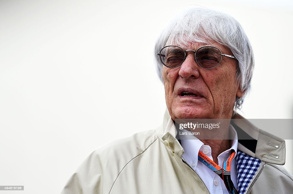F1 supremo <a gi-track='captionPersonalityLinkClicked' href=/galleries/search?phrase=Bernie+Ecclestone&family=editorial&specificpeople=211579 ng-click='$event.stopPropagation()'>Bernie Ecclestone</a> arrives in the paddock during previews to the Formula One Grand Prix of Mexico at Autodromo Hermanos Rodriguez on October 29, 2015 in Mexico City, Mexico.