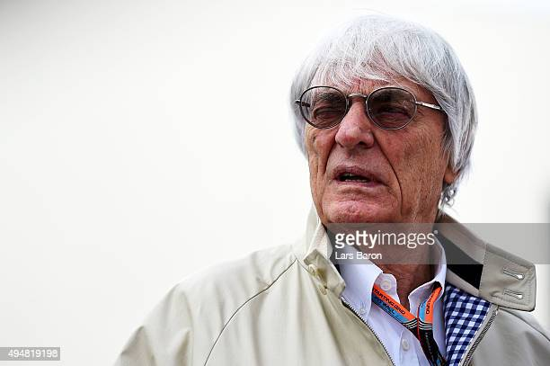 F1 supremo Bernie Ecclestone arrives in the paddock during previews to the Formula One Grand Prix of Mexico at Autodromo Hermanos Rodriguez on...
