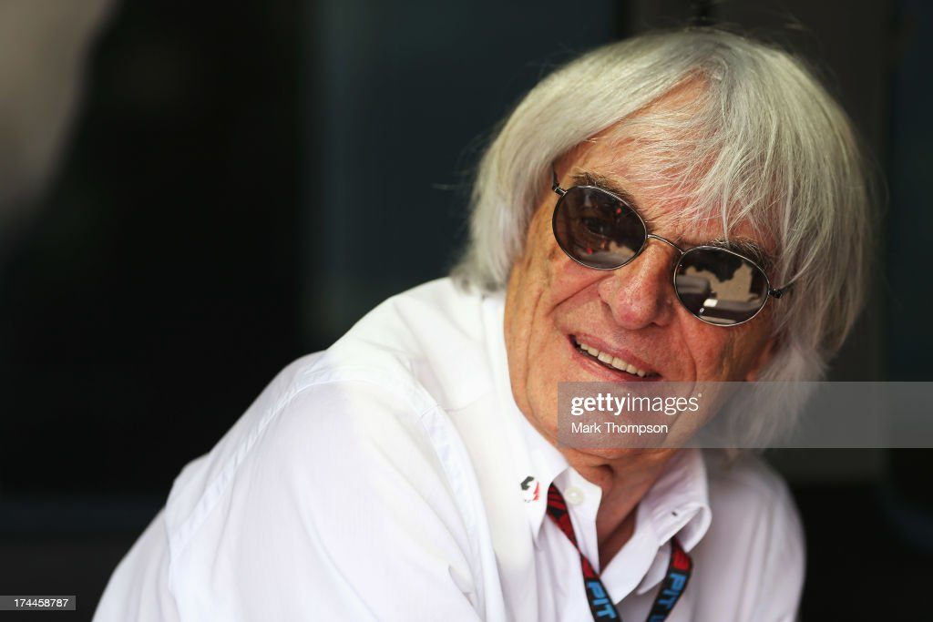 Supremo Bernie Ecclestone attends practice for the Hungarian Formula One Grand Prix at Hungaroring on July 26 2013 in Budapest Hungary