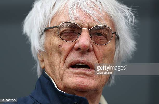 F1 supremo Bernie Ecclestone in the Paddock during qualifying for the Formula One Grand Prix of Great Britain at Silverstone on July 9 2016 in...