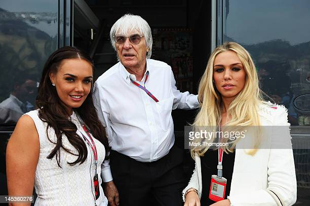 F1 supremo Bernie Ecclestone is seen at his motorhome with his daughters Tamara Ecclestone and Petra Ecclestone before the Monaco Formula One Grand...