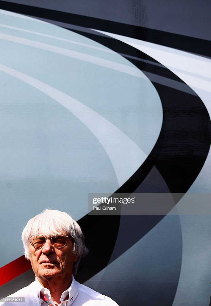 F1 supremo Bernie Ecclestone is seen in the paddock following qualifying for the Spanish Formula One Grand Prix at the Circuit de Catalunya on May 21...