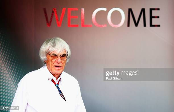 F1 supremo Bernie Ecclestone leaves the Mercedes GP hospitality unit during practice for the German Grand Prix at the Nuerburgring on July 5 2013 in...