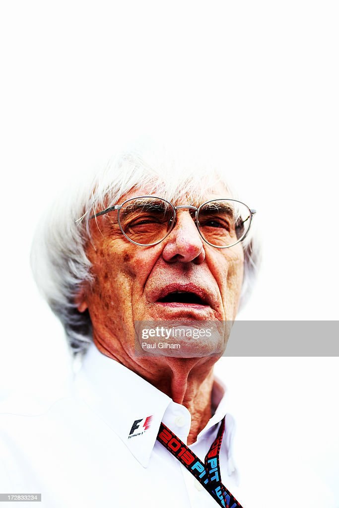 F1 supremo Bernie Ecclestone leaves the Mercedes GP hospitality unit during practice for the German Grand Prix at the Nuerburgring on July 5, 2013 in Nuerburg, Germany.