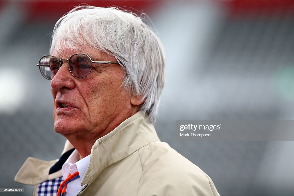 F1 supremo Bernie Ecclestone looks on during previews to the Formula One Grand Prix of Mexico at Autodromo Hermanos Rodriguez on October 29 2015 in...