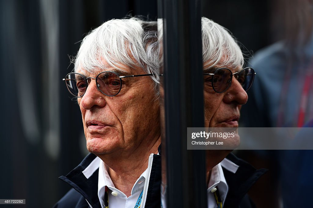 F1 Supremo <a gi-track='captionPersonalityLinkClicked' href=/galleries/search?phrase=Bernie+Ecclestone&family=editorial&specificpeople=211579 ng-click='$event.stopPropagation()'>Bernie Ecclestone</a> looks on in the paddock before qualifying ahead of the British Formula One Grand Prix at Silverstone Circuit on July 5, 2014 in Northampton, United Kingdom.