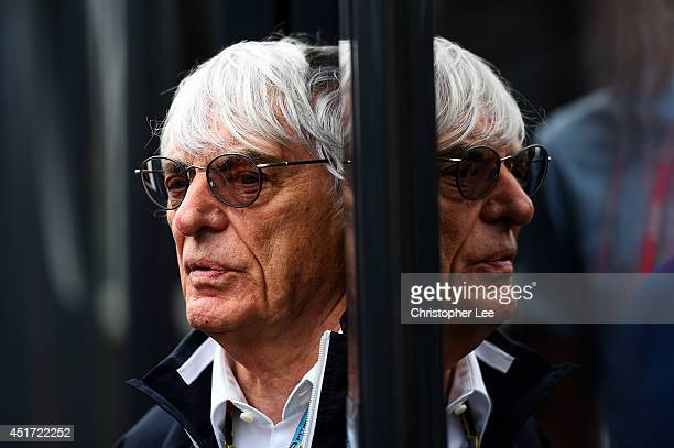 Supremo Bernie Ecclestone looks on in the paddock before qualifying ahead of the British Formula One Grand Prix at Silverstone Circuit on July 5 2014...
