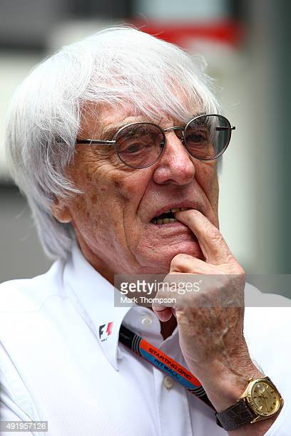 F1 supremo Bernie Ecclestone looks on in the paddock during practice for the Formula One Grand Prix of Russia at Sochi Autodrom on October 9 2015 in...
