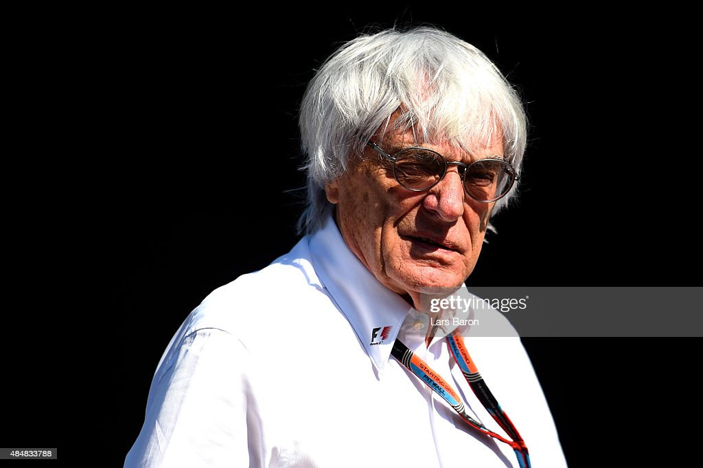F1 supremo <a gi-track='captionPersonalityLinkClicked' href=/galleries/search?phrase=Bernie+Ecclestone&family=editorial&specificpeople=211579 ng-click='$event.stopPropagation()'>Bernie Ecclestone</a> looks on in the paddock during qualifying for the Formula One Grand Prix of Belgium at Circuit de Spa-Francorchamps on August 22, 2015 in Spa, Belgium.