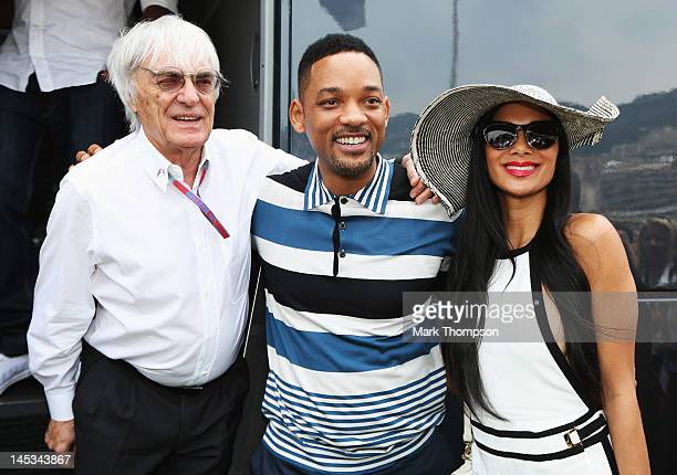 F1 supremo Bernie Ecclestone meets actor Will Smith and Nicole Scherzinger of the Pussycat Dolls in the paddock before the Monaco Formula One Grand...