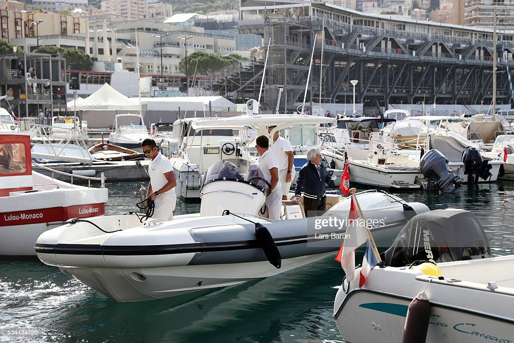 F1 supremo Bernie Ecclestone on a boat in the harbour during practice for the Monaco Formula One Grand Prix at Circuit de Monaco on May 26, 2016 in Monte-Carlo, Monaco.
