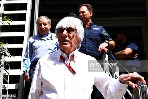 F1 supremo Bernie Ecclestone Red Bull Racing Team Principal Christian Horner and FIA President Jean Todt walk out after their meeting ahead of the...