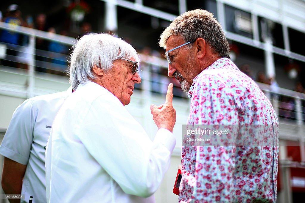 Supremo Bernie Ecclestone speaks with Eddie Jordan prior to the Spanish Formula One Grand Prix at Circuit de Catalunya on May 11 2014 in Montmelo...