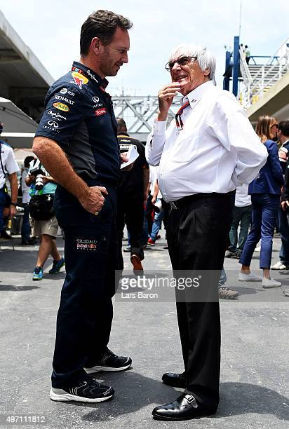 F1 supremo Bernie Ecclestone speaks with Infiniti Red Bull Racing Team Principal Christian Horner in the paddock during final practice for the...