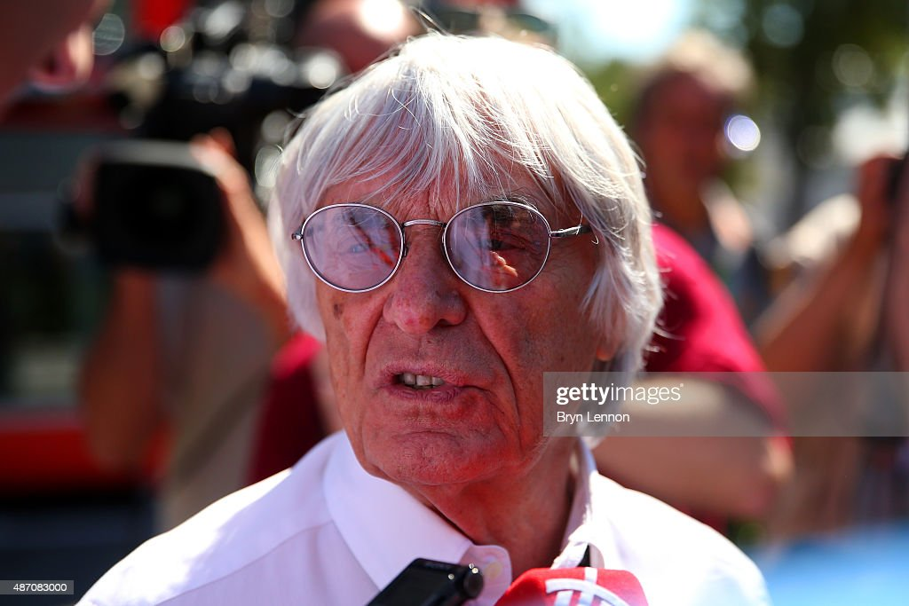 F1 supremo Bernie Ecclestone speaks with members of the media in the paddock before the Formula One Grand Prix of Italy at Autodromo di Monza on...