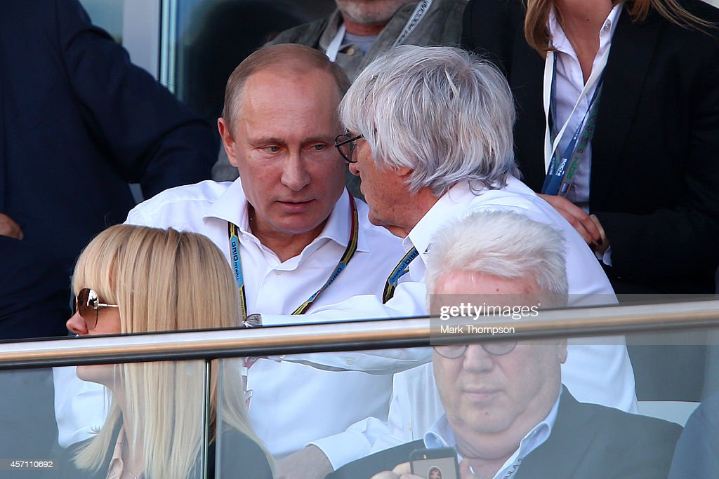 F1 supremo Bernie Ecclestone speaks with Russian Resident Vladimir Putin during the Russian Formula One Grand Prix at Sochi Autodrom on October 12...
