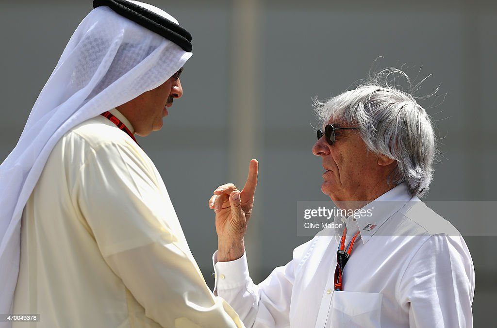 F1 supremo Bernie Ecclestone speaks with Sheikh Mohammed Bin Isa Al Khalifa the political and economic advisor to HRH Crown Prince's court during...