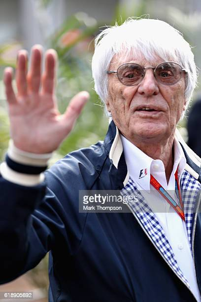 F1 supremo Bernie Ecclestone talks in the Paddock after practice for the Formula One Grand Prix of Mexico at Autodromo Hermanos Rodriguez on October...