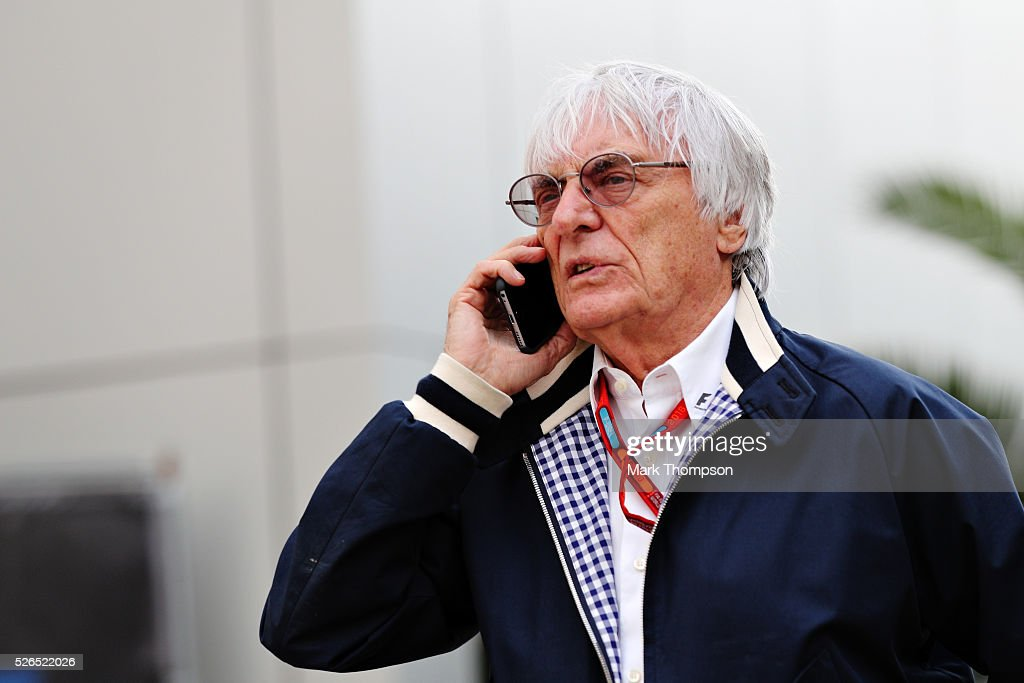 F1 supremo Bernie Ecclestone talks on the phone in the Paddock during qualifying for the Formula One Grand Prix of Russia at Sochi Autodrom on April 30, 2016 in Sochi, Russia.