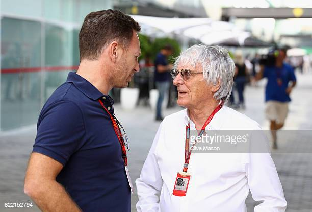 F1 supremo Bernie Ecclestone talks with Red Bull Racing Team Principal Christian Horner in the Paddock during previews for the Formula One Grand Prix...