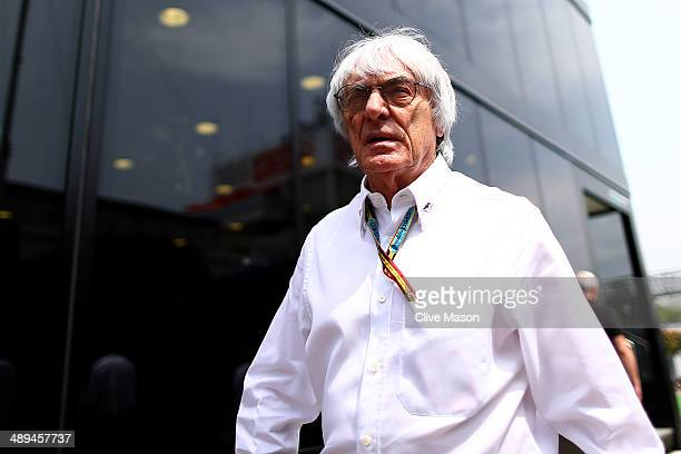 Supremo Bernie Ecclestone walks across the paddock prior to the Spanish Formula One Grand Prix at Circuit de Catalunya on May 11 2014 in Montmelo...