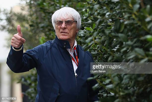 F1 supremo Bernie Ecclestone walks in the Paddock before the United States Formula One Grand Prix at Circuit of The Americas on October 23 2016 in...
