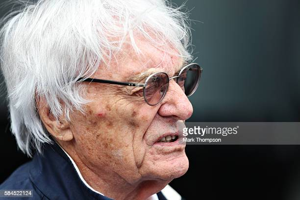 F1 supremo Bernie Ecclestone walks in the Paddock during practice for the Formula One Grand Prix of Germany at Hockenheimring on July 29 2016 in...