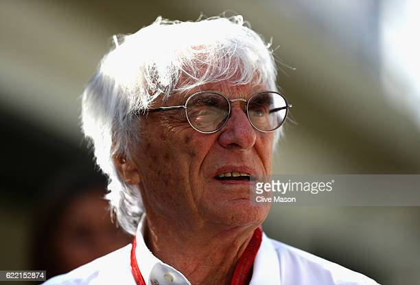 F1 supremo Bernie Ecclestone walks in the Paddock during previews for the Formula One Grand Prix of Brazil at Autodromo Jose Carlos Pace on November...