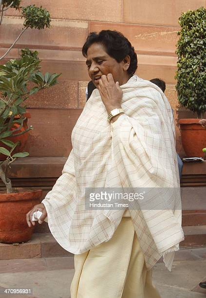 BSP supremo Mayawati arrives at Parliament House on last day of 15th Lok Sabha on February 21 2014 in New Delhi India Rajya Sabha passed the Whistle...