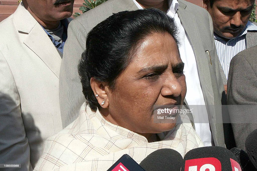 BSP supremo Mayawati at Parliament House in New Delhi on Tuesday during the ongoing winter session.