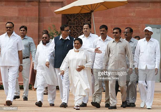 BSP supremo Mayawati coming out along with party leaders after meeting President Pranab Mukherjee to demand President's Rule in Uttar Pradesh at...