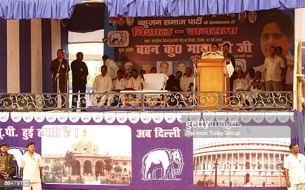 BSP supremo Mayawati makes a point while addressing an election rally on May 3 2009 at Ramlila Ground India India is the world's largest democracy...