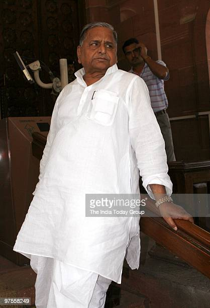 SP supremo Mulayam Singh Yadav at Parliament in New Delhi on Friday March 5 2010