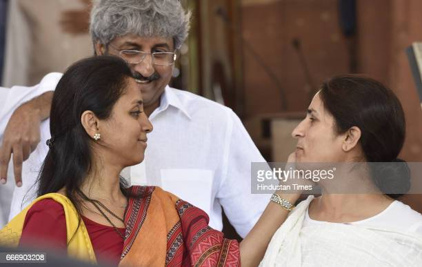 Supriya Sule and Congress MP Ranjeet Ranjan at Parliament during the second leg of Budget Session on April 10 2017 in New Delhi India The Lok Sabha...