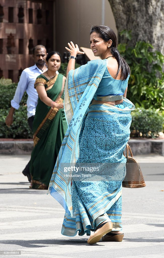 Supriya Sule during the Parliament Session at Parliament house on May 5, 2016 in New Delhi, India. The Lok Sabha has passed the Insolvency and Bankruptcy code 2016 with all the amendments proposed by the joint committee of Parliament being accepted by the government.