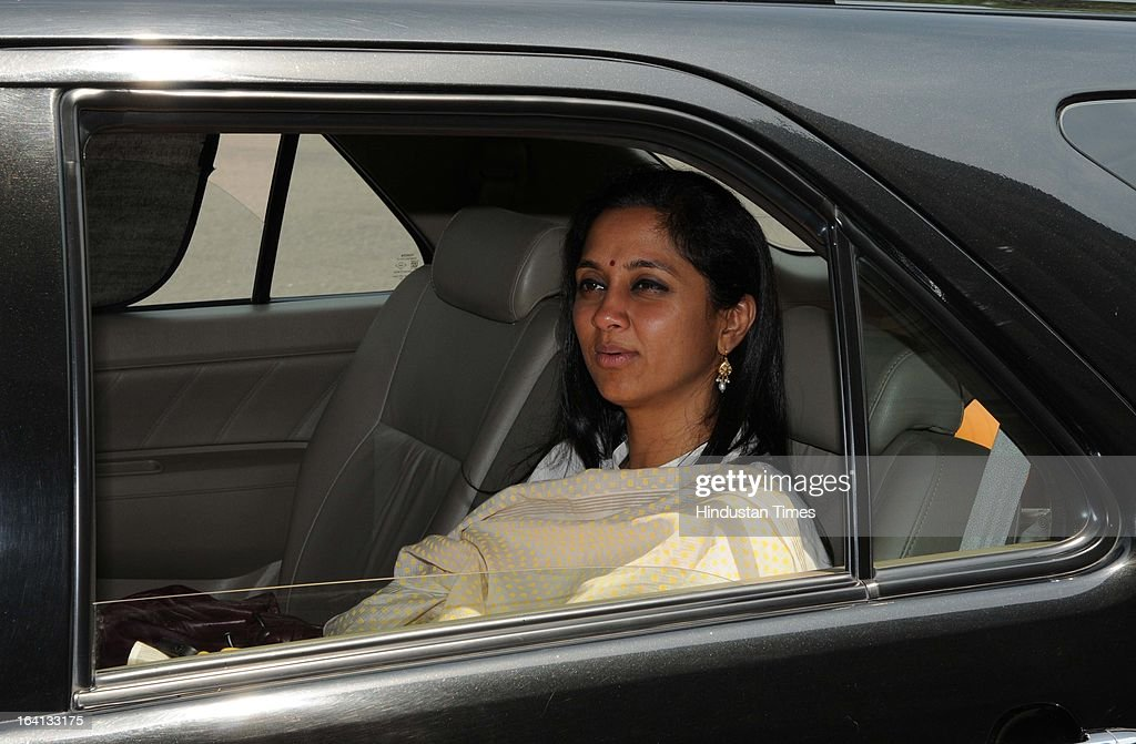Supriya Sule Leader of Nationalist Congress Party leaves Parliament House after attending Parliament Budget Session on March 20, 2013 in New Delhi, India.