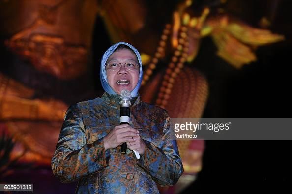 Surabaya Major Tri Risma Harini speechs during Moon Cake Festival at Sanggar Agung Temple Kenjeran on September 15 2016 in Surabaya Indonesia The...
