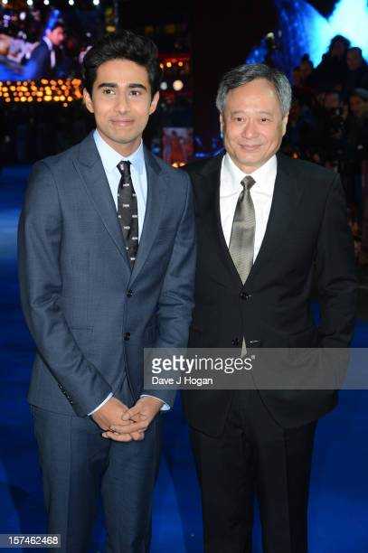 Suraj Sharma and Ang Lee attend the UK premiere of 'Life Of Pi' at The Empire Leicester Square on December 3 2012 in London England