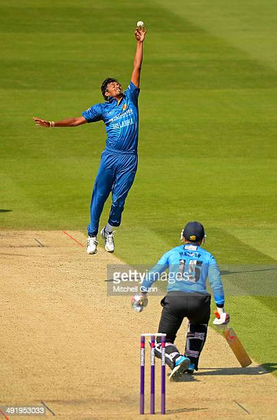 Suranga Lakmal of Sri Lanka attempts a return catch from Matt Machan of Sussex during the T20 match between The Sussex Sharks and Sri Lanka played at...