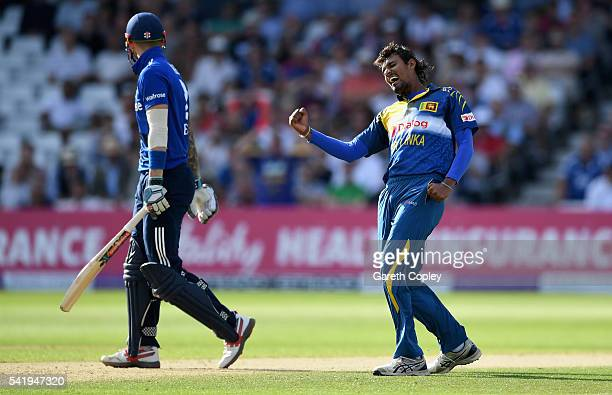Suranga Lakmal of Sri Lanka celebrates dismissing Alex Hales of England during the 1st ODI Royal London One Day match between England and Sri Lanka...